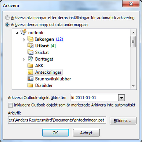 arkivering outlook