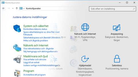 Windows 10 inst�llningar kontrollpanelen